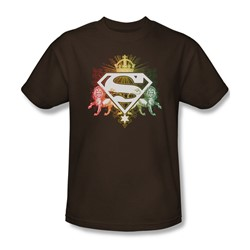 Superman - Ornate Lion Shield - Adult Coffee S/S T-Shirt For Men