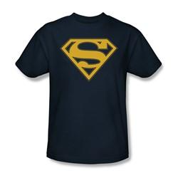 Superman - Maize & Blue Shield - Adult Navy S/S T-Shirt For Men