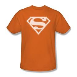 Superman - Orange & White Shield - Adult Orange S/S T-Shirt For Men