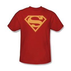 Superman - Red & Gold Shield - Adult Red S/S T-Shirt For Men