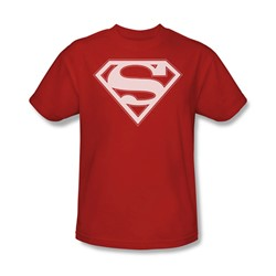 Superman - Red & White Shield - Adult Red S/S T-Shirt For Men