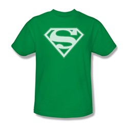 Superman - Green & White Shield - Adult Kelly Green S/S T-Shirt For Men