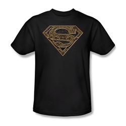 Superman - Aztec Shield - Adult Black S/S T-Shirt For Men