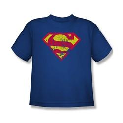 Superman - Classic Logo Distressed - Big Boys Royal Blue S/S T-Shirt For Boys