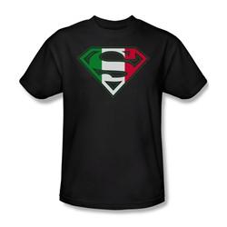 Superman - Italian Shield - Adult Black S/S T-Shirt For Men