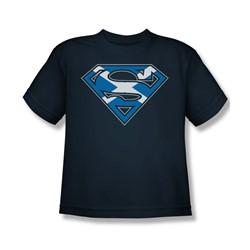 Superman - Scottish Shield - Big Boys Navy S/S T-Shirt For Boys