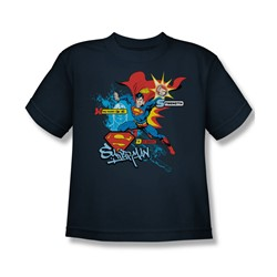 Superman - Abilities - Youth Navy S/S T-Shirt For Boys
