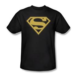 Superman - Gold & Black Shield - Adult Black S/S T-Shirt For Men