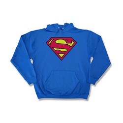 Superman - Classic Logo - Adult Royal Hooded Sweatshirt -  For Men