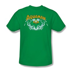 Aquaman Splash Adult S/S T-shirt in Kelly Green by DC Comics