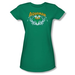 Aquaman Splash Juniors S/S T-shirt in Kelly Green by DC Comics
