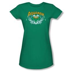 Aquaman Splash Juniors S/S T-shirt in Kelly Green by DC Comics