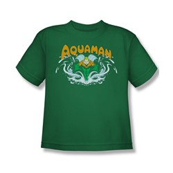 Aquaman Splash Big Boys S/S T-shirt in Kelly Green by DC Comics