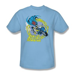 Batgirl Motorcycle Adult S/S T-shirt in Light Blue by DC Comics