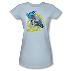 Batgirl Motorcycle Juniors S/S T-shirt in Light Blue by DC Comics