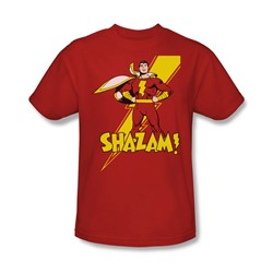 Shazam Shazam! Adult S/S T-shirt in Red by DC Comics