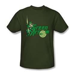 Green Arrow Adult S/S T-shirt in Military Green by DC Comics