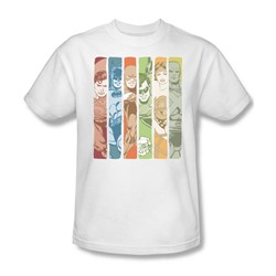 Justice League Columns Adult S/S T-shirt in White by DC Comics