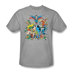 The Justice League Assemble Adult S/S T-shirt in Athletic Heather by DC Comics