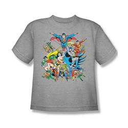 The Justice League Assemble Big Boys S/S T-shirt in Athletic Heather by DC Comics