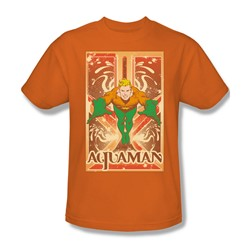 Aquaman Adult S/S T-shirt in Orange by DC Comics