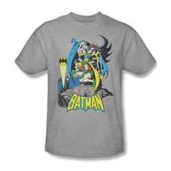 Batman Heroic Trio Adult S/S T-shirt in Athletic Heather by DC Comics