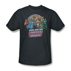 The Justice League Join The Justice League Adult S/S T-shirt in Charcoal by DC Comics