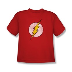 The Flash Logo Distressed Youth S/S T-shirt in Red by DC Comics
