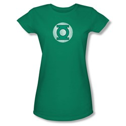Green Lantern Gl Logo Distressed Juniors S/S T-shirt in Kelly Green by DC Comics