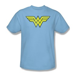 Wonder Woman Ww Logo Distressed Adult S/S T-shirt in Light Blue by DC Comics