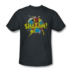 Shazam Power Bolt Adult S/S T-shirt in Charcoal by DC Comics