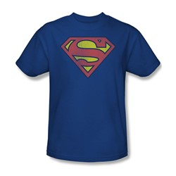 Superman Retro Supes Logo Distressed Adult S/S T-shirt in Royal by DC Comics