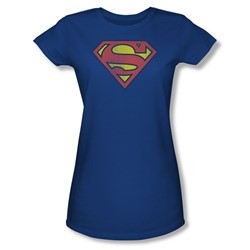 Superman Retro Supes Logo Distressed Juniors S/S T-shirt in Royal by DC Comics