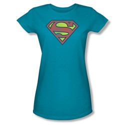Superman Retro Supes Logo Distressed Juniors S/S T-shirt in Turquoise by DC Comics