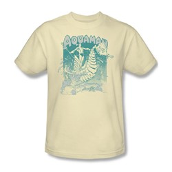 Aquaman Catch A Wave Adult S/S T-shirt in Cream by DC Comics
