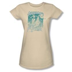 Aquaman Catch A Wave Juniors S/S T-shirt in Cream by DC Comics