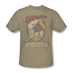 Superman 1 Distressed Adult S/S T-shirt in Sand by DC Comics