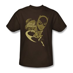 Batgirl Flying Batgirl Adult S/S T-shirt in Coffee by DC Comics