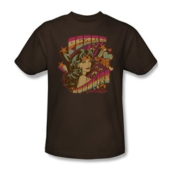 Wonder Woman Peace Adult S/S T-shirt in Coffee by DC Comics