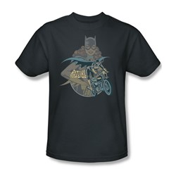 Batgirl Biker Adult S/S T-shirt in Charcoal by DC Comics
