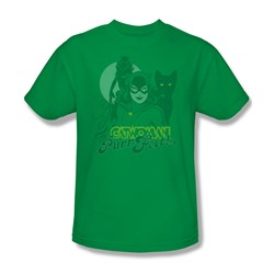 Catwoman Perrfect! Adult S/S T-shirt in Kelly Green by DC Comics