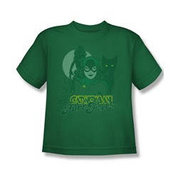 Catwoman Perrfect! Big Boys S/S T-shirt in Kelly Green by DC Comics