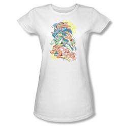 Superman Halftone League Juniors S/S T-shirt in White by DC Comics