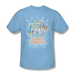 Catwoman Super Powers X3 Adult S/S T-shirt in Light Blue by DC Comics