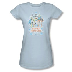 Catwoman Super Powers X3 Juniors S/S T-shirt in Light Blue by DC Comics