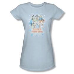 Catwoman Super Powers X3 Juniors S/S T-shirt in Light Blue by DC Comics