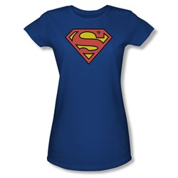 Superman S Shield Juniors S/S T-shirt in Royal by DC Comics