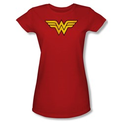 Wonder Woman Logo Juniors S/S T-shirt in Red by DC Comics