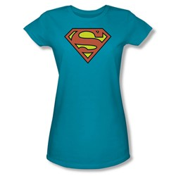 Superman Logo Juniors S/S T-shirt in Turquoise by DC Comics