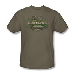 Cbs - Survivor / Gabon Distressed Adult T-Shirt In Safari Green